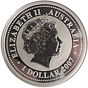 "1 Dollar - Elizabeth II (4th portrait; ""Lunar Year Series"" Silver Bullion) -  obverse"
