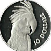 10 Dollars - Elizabeth II (Birds of Australia Series - Cockatoo; Piedfort) -  reverse