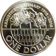1 Dollar - Elizabeth II (4th Portrait - Armistice Centenary 1918 - 2018) -  reverse