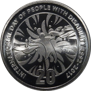 20 Cents - Elizabeth II (25th Anniversary of International Day of People with Disability) -  reverse