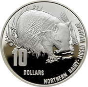 10 Dollars - Elizabeth II (4th Portrait - Hairy Nosed Wombat - Frosted Proof) -  reverse
