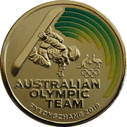 1 Dollar - Elizabeth II (4th Portrait - Australian Olympic Team - Pyeongchang 2018) -  reverse