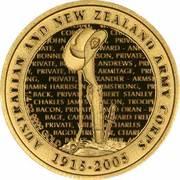 10 Dollars - Elizabeth II (4th Portrait - 90th Anniversary of ANZAC - Gold Proof) -  reverse