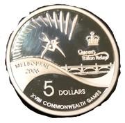 5 Dollars - Elizabeth II (Queen's Baton Relay) Silver Proof -  reverse