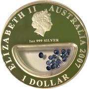 1 Dollar - Elizabeth II (4th Portrait - Treasures of Australia - Sapphires) -  obverse