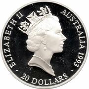 20 Dollars - Elizabeth II (3rd Portrait - Olympics 100 Years - Silver Proof) -  obverse