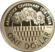 1 Dollar - Elizabeth II (Armistice Centenary 1918-2018) -  reverse