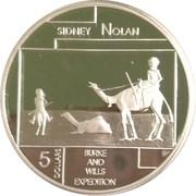 5 Dollars - Elizabeth II (4th Portrait - Sidney Nolan - Masterpieces in Silver) – reverse