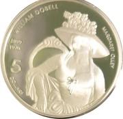 5 Dollars - Elizabeth II (4th Portrait - William Dobell - Masterpieces in Silver) -  reverse