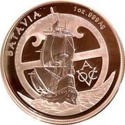 5 Dollars - Elizabeth II (4th Portrait - VOC Batavia - Silver Proof) -  reverse