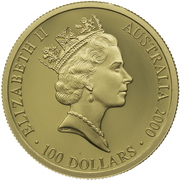 100 Dollars - Elizabeth II (3rd Portrait - Summer Olympics - Gold Proof) -  obverse
