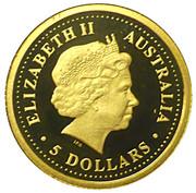 5 Dollars - Elizabeth II (4th Portrait - Saltwater Crocodile - Gold Proof) -  obverse