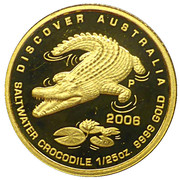 5 Dollars - Elizabeth II (4th Portrait - Saltwater Crocodile - Gold Proof) -  reverse