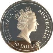 50 Dollars - Elizabeth II (4th Portrait - Kookaburra - Silver Bullion Coin) -  obverse