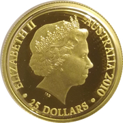 25 Dollars - Elizabeth II (4th Portrait - Kangaroo, Windmill center - Gold Bullion Coin) -  obverse