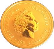 """100 Dollars - Elizabeth II (""""Kangaroo"""" Gold Bullion Coinage) -  obverse"""