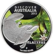 1 Dollar - Elizabeth II (4th Portrait - Discover Australia - Platypus) -  reverse