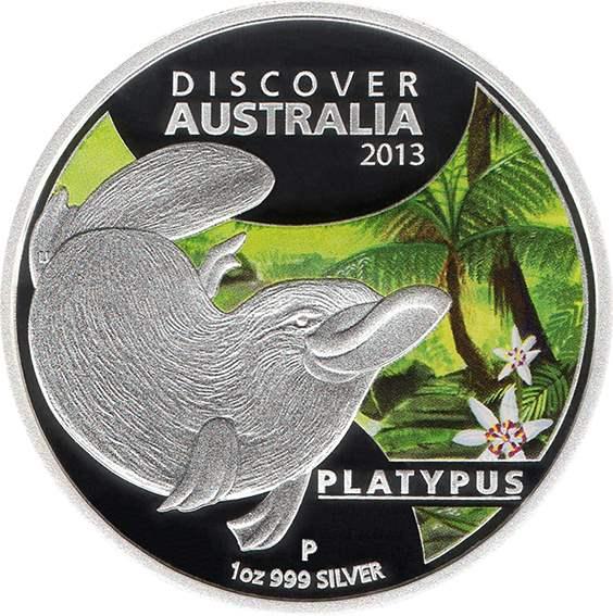 2013 Discover Australia platypus 1oz 99.9 silver proof coin perth mint