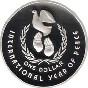 1 Dollar - Elizabeth II  (3rd Portrait - Masterpieces in Silver - International Year of Peace) – reverse