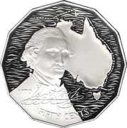 50 Cents - Elizabeth II (3rd Portrait - Masterpieces in Silver - Captain Cook) – reverse