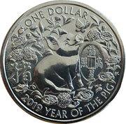 1 Dollar - Elizabeth II (4th Portrait - Year of the Pig) -  reverse
