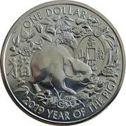 1 Dollar - Elizabeth II (4th Portrait - Year of the Pig) -  reverse