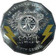 50 Cents - Elizabeth II (4th Portrait - AC/DC 45 Years of Thunder) -  reverse