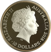 10 Dollars - Elizabeth II (4th Portrait - Australian Kangaroo 25th Anniversary - Silver Proof) -  obverse