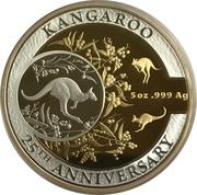 10 Dollars - Elizabeth II (4th Portrait - Australian Kangaroo 25th Anniversary - Silver Proof) -  reverse