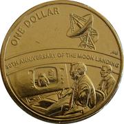 1 Dollar - Elizabeth II (4th Portrait - 50th Anniversary Moon Landing) -  reverse