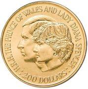 200 Dollars - Elizabeth II (2nd Portrait - Charles and Diana Royal Wedding - Gold Bullion Coin) -  reverse