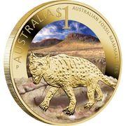1 Dollar - Elizabeth II (4th Portrait - Australian Fossil Mammal Sites) -  reverse