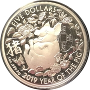 5 Dollars - Elizabeth II (4th Portrait - Year of the Pig - Silver Proof) -  reverse