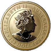 """100 Dollars - Elizabeth II (6th Portrait - """"Kangaroo"""" Gold Bullion Coinage) – obverse"""