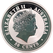 50 Cents - Elizabeth II (Year of the Dog; Colourised) -  obverse