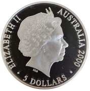 5 Dollars - Elizabeth II (4th Portrait - Sydney 2000 Series - Silver Proof) -  obverse
