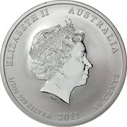 50 Cents - Elizabeth II (4th Portrait - Year of the Rabbit - Silver Bullion Coin) -  obverse