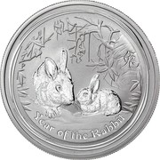 50 Cents - Elizabeth II (4th Portrait - Year of the Rabbit - Silver Bullion Coin) -  reverse