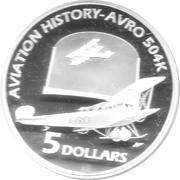 5 Dollars - Elizabeth II (AVRO 504K) -  reverse