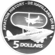 5 Dollars - Elizabeth II (DE HAVILLAND DH 86) – reverse
