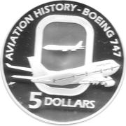 5 Dollars - Elizabeth II (BOEING 747) – reverse