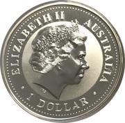 1 Dollar - Elizabeth II (4th Portrait - Australian Kookaburra - March Privy) -  obverse