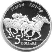 5 Dollars - Elizabeth II (3rd Portrait - Horse Racing - Masterpieces in Silver) -  reverse