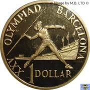 1 Dollar - Elizabeth II (3rd Portrait - Barcelona Olympics) -  reverse