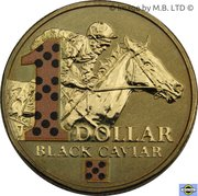 1 Dollar - Elizabeth II (Black Caviar) Coloured -  reverse