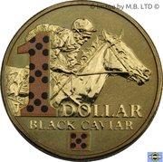1 Dollar - Elizabeth II (4th Portrait - Black Caviar - Coloured) -  reverse