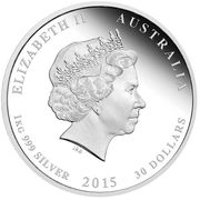 30 Dollars - Elizabeth II (4th Portrait - Year of the Goat - Silver Bullion Coin) -  obverse