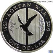 1 Dollar - Elizabeth II (4th Portrait - Korean War - Silver Proof) -  reverse