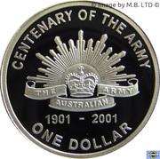 1 Dollar - Elizabeth II (Army Anniversary Silver Proof) -  reverse