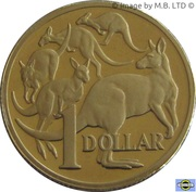 1 Dollar - Elizabeth II (4th Portrait - Mob of Roos) -  reverse